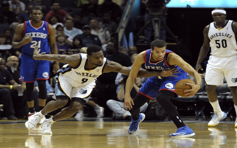 Apr 11, 2014; Memphis, TN, USA; Memphis Grizzlies guard Tony Allen (9) steals the ball from Philadelphia 76ers guard Michael Carter-Williams (1) during the game at FedExForum. Mandatory Credit: Justin Ford-USA TODAY Sports